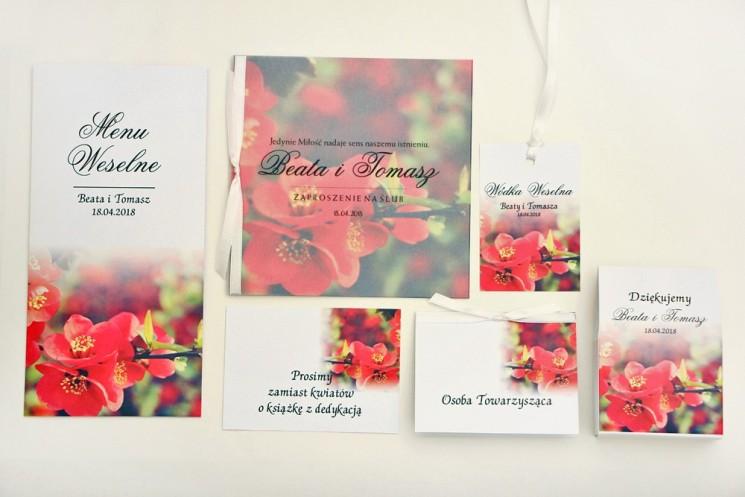 Zaproszenie ślubne z dodatkami - Elegant nr 15 - czerwone kwiaty - Eleganckie kwiatowe z kalką