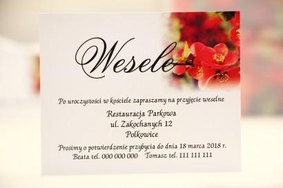 Bilecik do zaproszenia 120 x 98 mm prezenty ślubne wesele - Elegant nr 15 - Czerwone kwiaty pigwowca