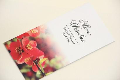 Menu weselne, stół weselny - Elegant nr 15 - Kwiaty pigwowca - Eleganckie kwiatowe wzory - dodatki ślubne