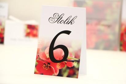 Numery stolików, stół weselny, ślub -  Elegant nr 15 - Czerwone kwiaty - dodatki ślubne kwiatowe