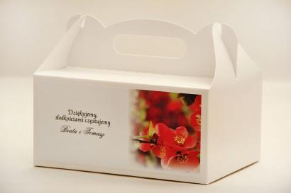 Prostokątne pudełko na ciasto, tort weselny, ślub - Elegant nr 15 - Czerwone kwiaty - kwiatowe dodatki ślubne