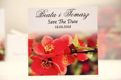 Bilecik Save The Date do zaproszenia ślubnego - Elegant nr 15 - Czerwone kwiaty pigwowca