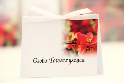 Winietki na stół weselny, ślub - Elegant nr 15 - Kwiaty pigwowca - kwiatowe dodatki ślubne