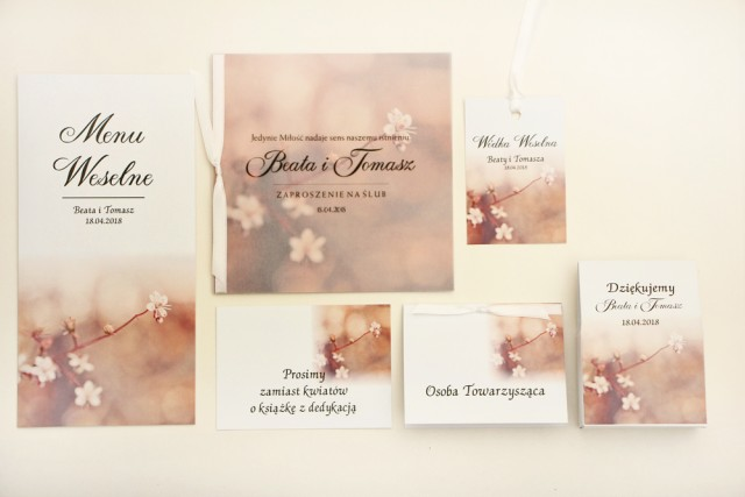 Zaproszenie ślubne z dodatkami - Elegant nr 16 - Kwiaty wiśni - Eleganckie kwiatowe z kalką