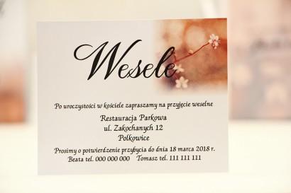 Bilecik do zaproszenia 120 x 98 mm prezenty ślubne wesele - Elegant nr 16 - Kwiaty wiśni