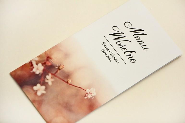Menu weselne, stół weselny - Elegant nr 16 - Kwiaty wiśni - Eleganckie kwiatowe wzory - dodatki ślubne