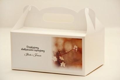 Prostokątne pudełko na ciasto, tort weselny, ślub - Elegant nr 16 - Drobne kwiaty jabłoni - kwiatowe dodatki ślubne