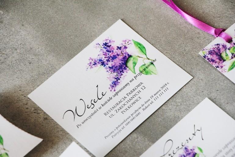 Bilecik do zaproszenia 120 x 98 mm prezenty ślubne wesele - Pistacjowe nr 2 - Gałązka intensywnie fioletowego bzu