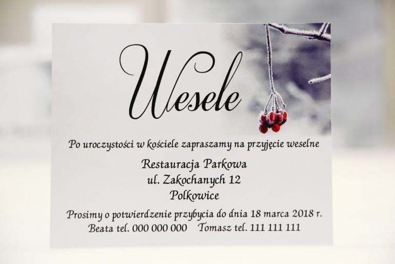 Bilecik do zaproszenia 120 x 98 mm prezenty ślubne wesele - Elegant nr 17 - Zimowa jarzębina