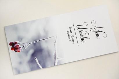 Menu weselne, stół weselny - Elegant nr 17 - Zimowa jarzębina - Eleganckie kwiatowe wzory - dodatki ślubne