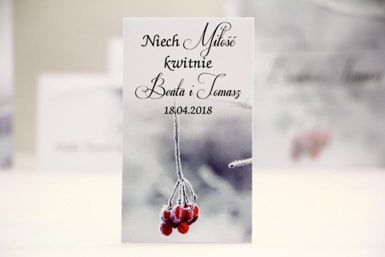 Podziękowania dla Gości weselnych - nasiona Niezapominajki - Elegant nr 17 - Zimowa jarzębina - kwiatowe dodatki ślubne