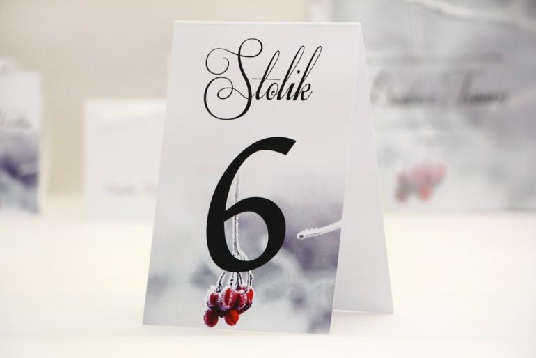 Numery stolików, stół weselny, ślub -  Elegant nr 17 - Zimowe z jarzębiną - dodatki ślubne