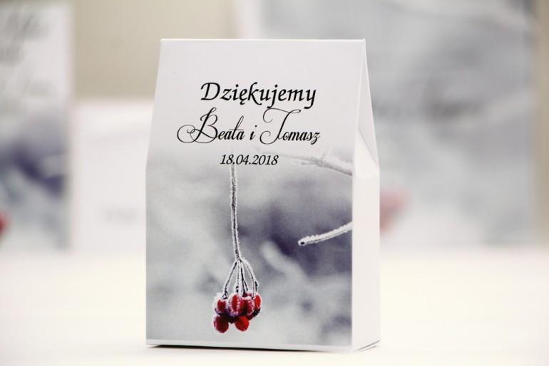 Pudełeczko stojące na cukierki, podziękowania dla Gości weselnych - Elegant nr 17 - Zimowe - Kwiatowe dodatki ślubne