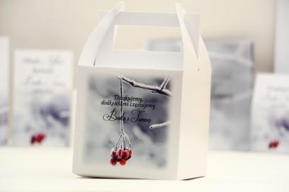 Pudełko na ciasto kwadratowe, tort weselny - Elegant nr 17 - zimowa jarzębina- kwiatowe dodatki ślubne