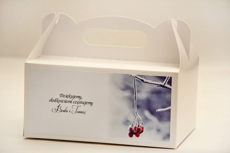 Prostokątne pudełko na ciasto, tort weselny, ślub - Elegant nr 17 - Zimowa jarzębina - kwiatowe dodatki ślubne