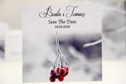 Bilecik Save The Date do zaproszenia ślubnego - Elegant nr 17 - Zimowa jarzębina