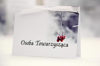 Winietki na stół weselny, ślub - Elegant nr 17 - Zimowa jarzębina - kwiatowe dodatki ślubne