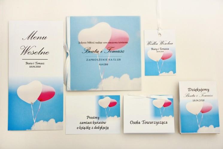 Zaproszenie ślubne z dodatkami - Elegant nr 18 - Balony na niebie - Eleganckie kwiatowe z kalką