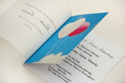 Zaproszenie ślubne, zaproszenia na ślub eleganckie z kalką - Elegant nr 18 - Balony na niebie