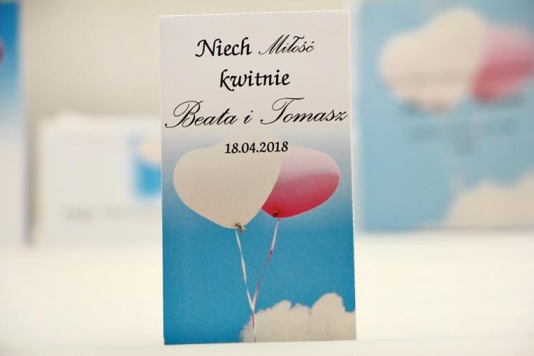 Podziękowania dla Gości weselnych - nasiona Niezapominajki - Elegant nr 18 - Balony - kwiatowe dodatki ślubne