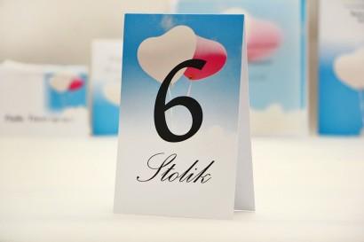 Numery stolików, stół weselny, ślub -  Elegant nr 18 - Balony na niebie - dodatki ślubne