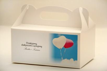 Prostokątne pudełko na ciasto, tort weselny, ślub - Elegant nr 18 - Balony - dodatki ślubne