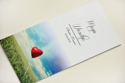 Menu weselne, stół weselny - Elegant nr 19 - Balonik na niebie - Eleganckie kwiatowe wzory - dodatki ślubne