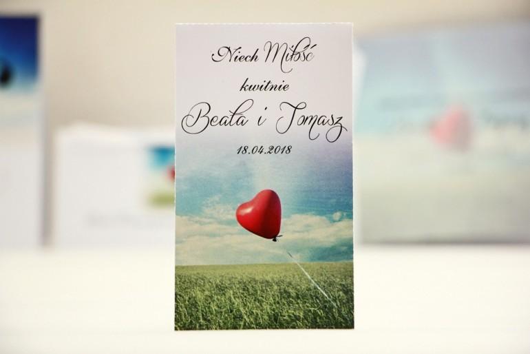 Podziękowania dla Gości weselnych - nasiona Niezapominajki - Elegant nr 19- Czerwony balonik - kwiatowe dodatki ślubne