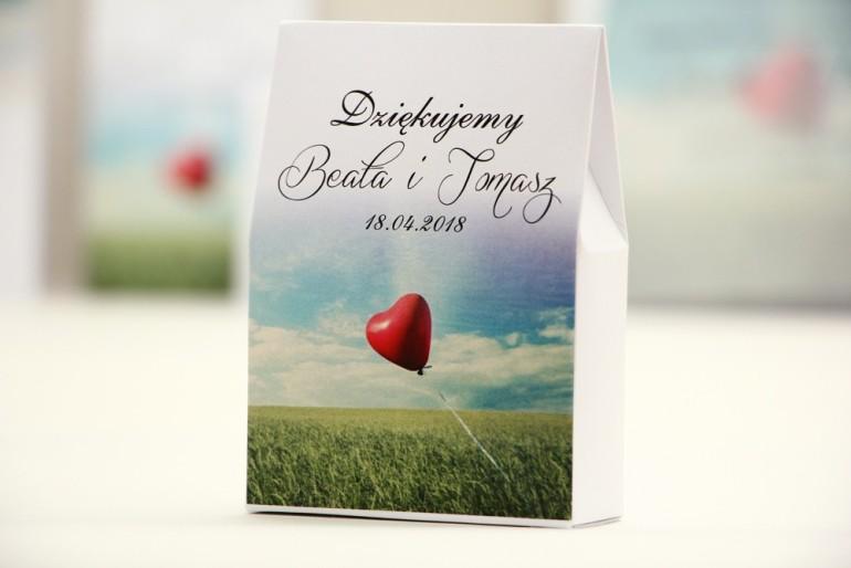 Pudełeczko stojące na cukierki, podziękowania dla Gości weselnych - Elegant nr 19 - Balonik na niebie - dodatki ślubne