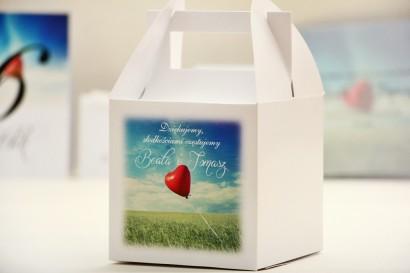 Pudełko na ciasto kwadratowe, tort weselny - Elegant nr 19 - Czerwony balonik - dodatki ślubne