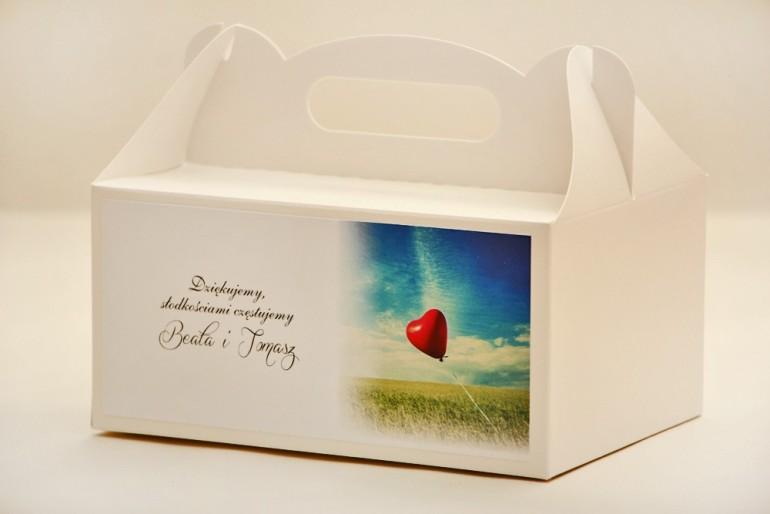 Prostokątne pudełko na ciasto, tort weselny, ślub - Elegant nr 19 - Czerwony balonik - kwiatowe dodatki ślubne
