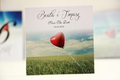 Bilecik Save The Date do zaproszenia ślubnego - Elegant nr 19 - Czerwony balonik