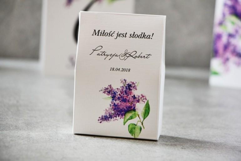 Pudełeczko stojące na cukierki, podziękowania dla Gości weselnych - Pistacjowe nr 2 -  Fioletowy wiosenny bez