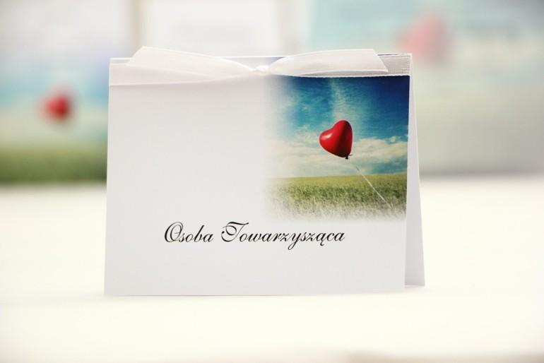 Winietki na stół weselny, ślub - Elegant nr 19 - Czerwony balonik - kwiatowe dodatki ślubne