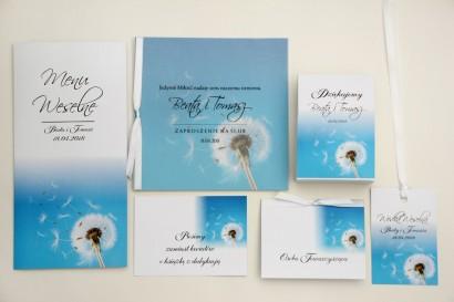 Zaproszenie ślubne z dodatkami - Elegant nr 20 - Dmuchawiec - Eleganckie kwiatowe z kalką