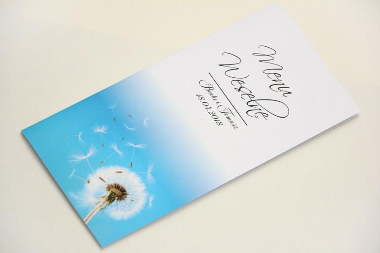 Menu weselne, stół weselny - Elegant nr 20 - Dmuchawce - Eleganckie kwiatowe wzory - dodatki ślubne