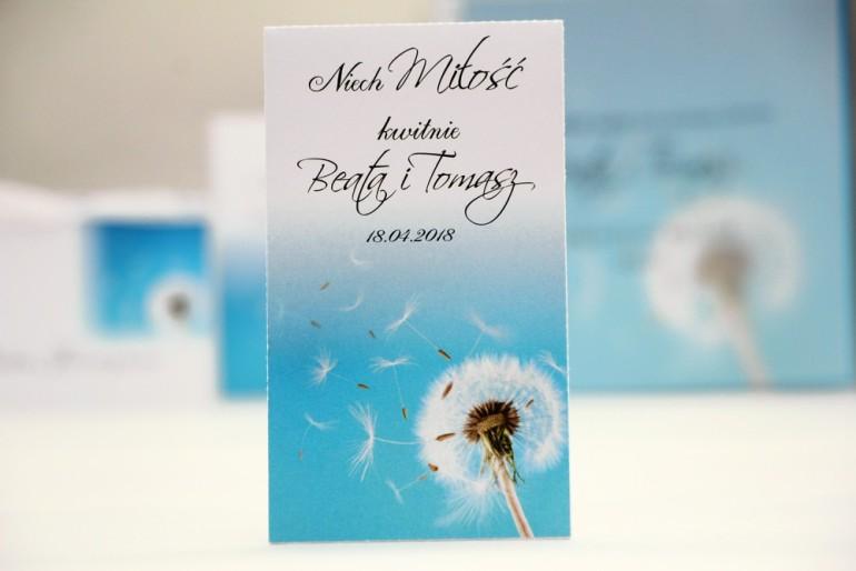 Podziękowania dla Gości weselnych - nasiona Niezapominajki - Elegant nr 20 - Dmuchawiec - kwiatowe dodatki ślubne