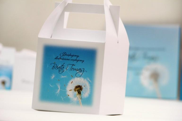 Pudełko na ciasto kwadratowe, tort weselny - Elegant nr 20 - Dmuchawiec - kwiatowe dodatki ślubne