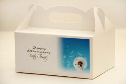 Prostokątne pudełko na ciasto, tort weselny, ślub - Elegant nr 20 - Dmuchawiec - kwiatowe dodatki ślubne