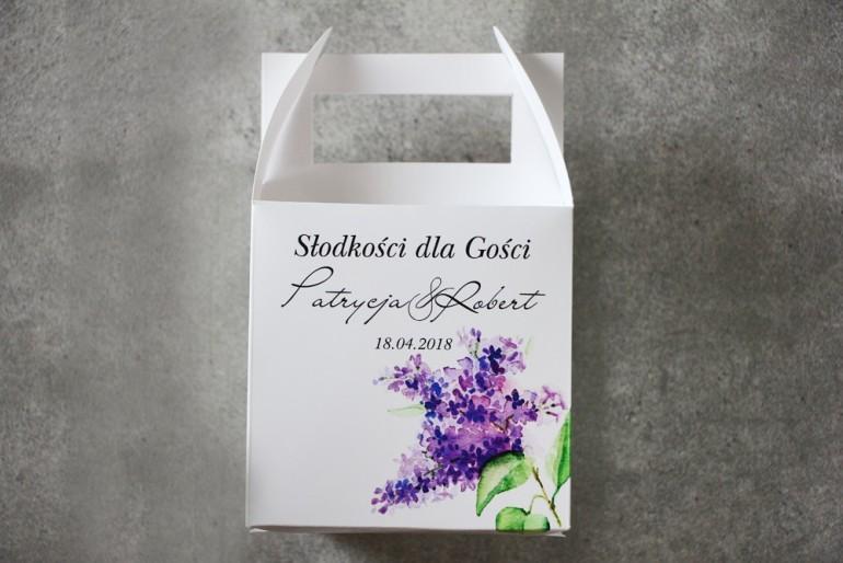 Pudełko na ciasto kwadratowe, tort weselny - Pistacjowe nr 2 - Gałązka fioletowego bzu