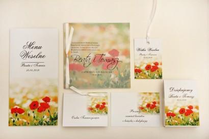 Zaproszenie ślubne z dodatkami - Elegant nr 21 - Polne maki - Eleganckie kwiatowe z kalką
