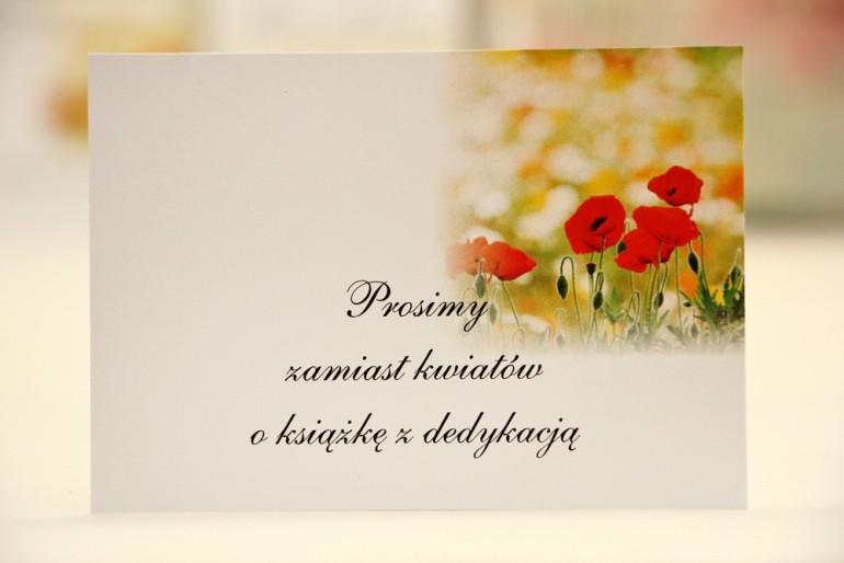 Bilecik do zaproszenia 120 x 98 mm prezenty ślubne wesele - Elegant nr 21 - Polne maki