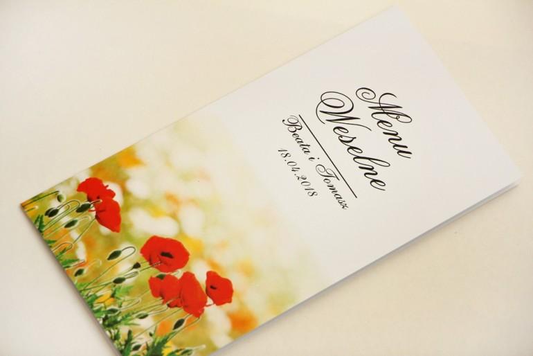 Menu weselne, stół weselny - Elegant nr 21 - Polne maki - Eleganckie kwiatowe wzory - dodatki ślubne