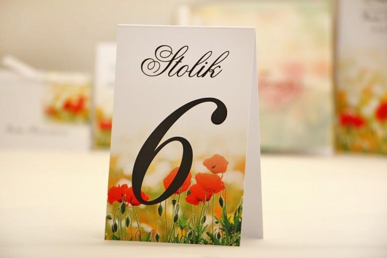 Numery stolików, stół weselny, ślub - Elegant nr 21 - Polne maki - dodatki ślubne