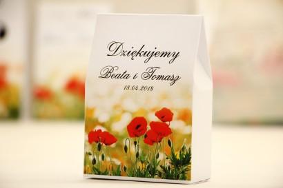 Pudełeczko stojące na cukierki, podziękowania dla Gości weselnych - Elegant nr 21 - Polne maki - Kwiatowe dodatki ślubne