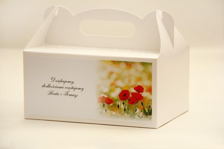 Prostokątne pudełko na ciasto, tort weselny, ślub - Elegant nr 21 - Polne maki - kwiatowe dodatki ślubne