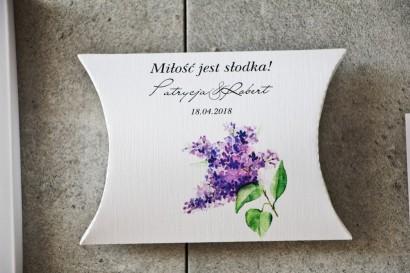 Pudełeczko poduszeczka na cukierki, podziękowania dla Gości weselnych - Pistacjowe nr 2 -  Fioletowe bzy