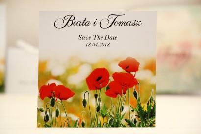 Bilecik Save The Date do zaproszenia ślubnego - Elegant nr 21 - Polne maki