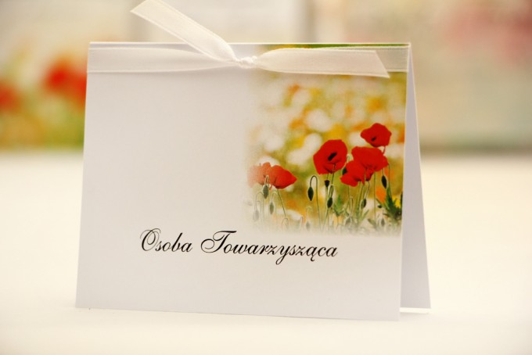 Winietki na stół weselny, ślub - Elegant nr 21 - Polne maki - kwiatowe dodatki ślubne