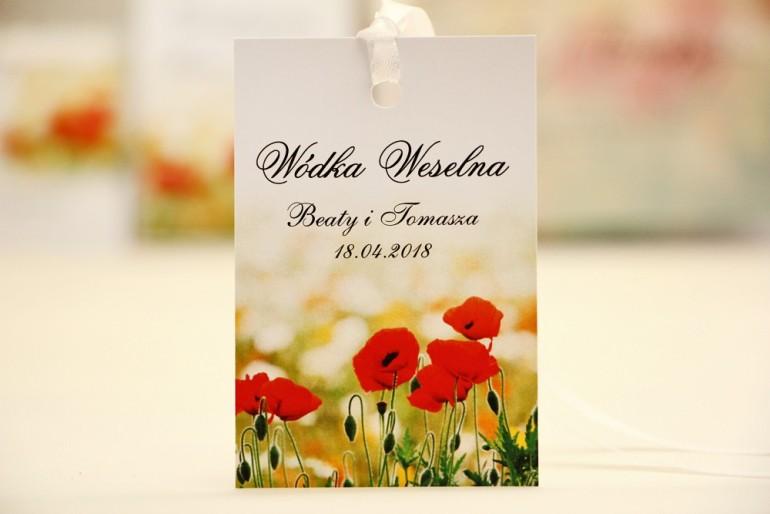 Zawieszka na butelkę, wódka weselna, ślub - Elegant nr 21 - Polne maki - kwiatowe dodatki ślubne